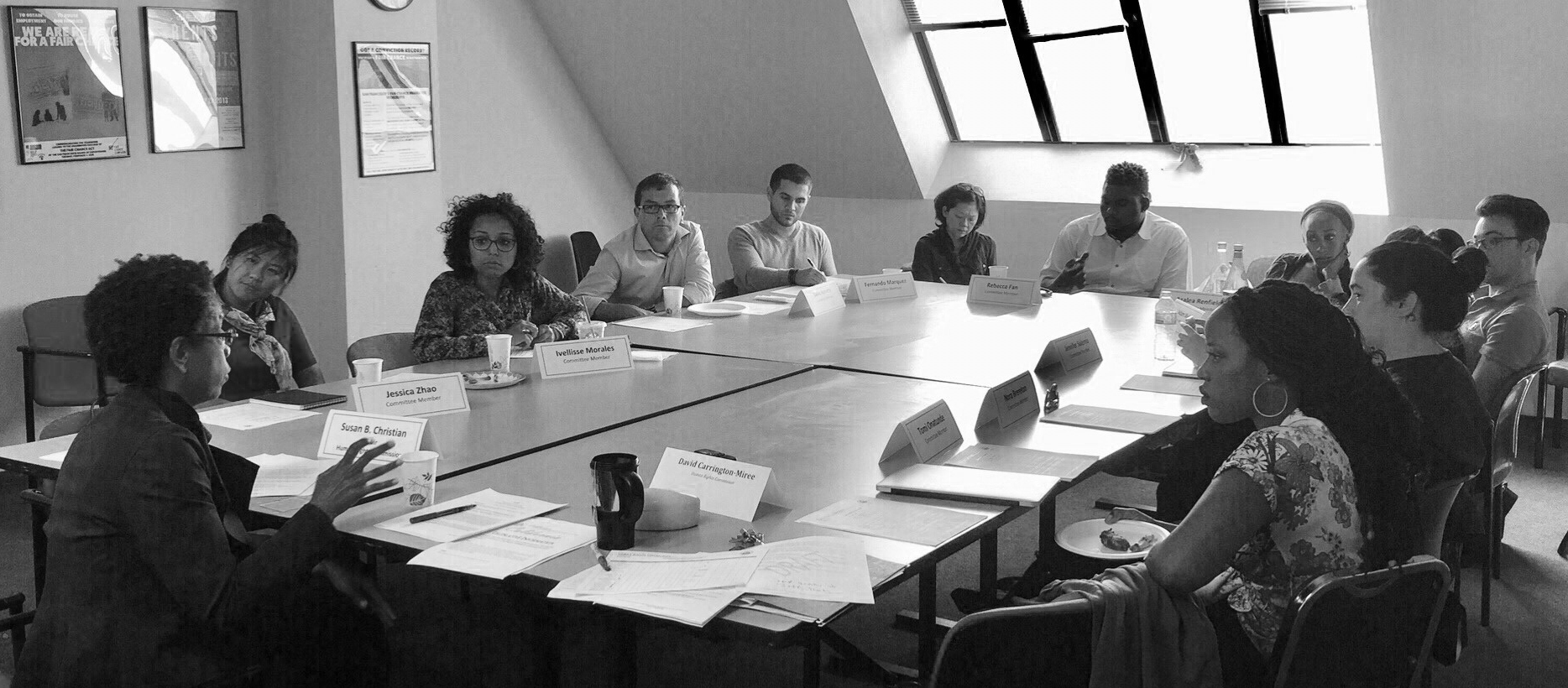Black and white photo of a 2017 Equity Advisory Committee meeting