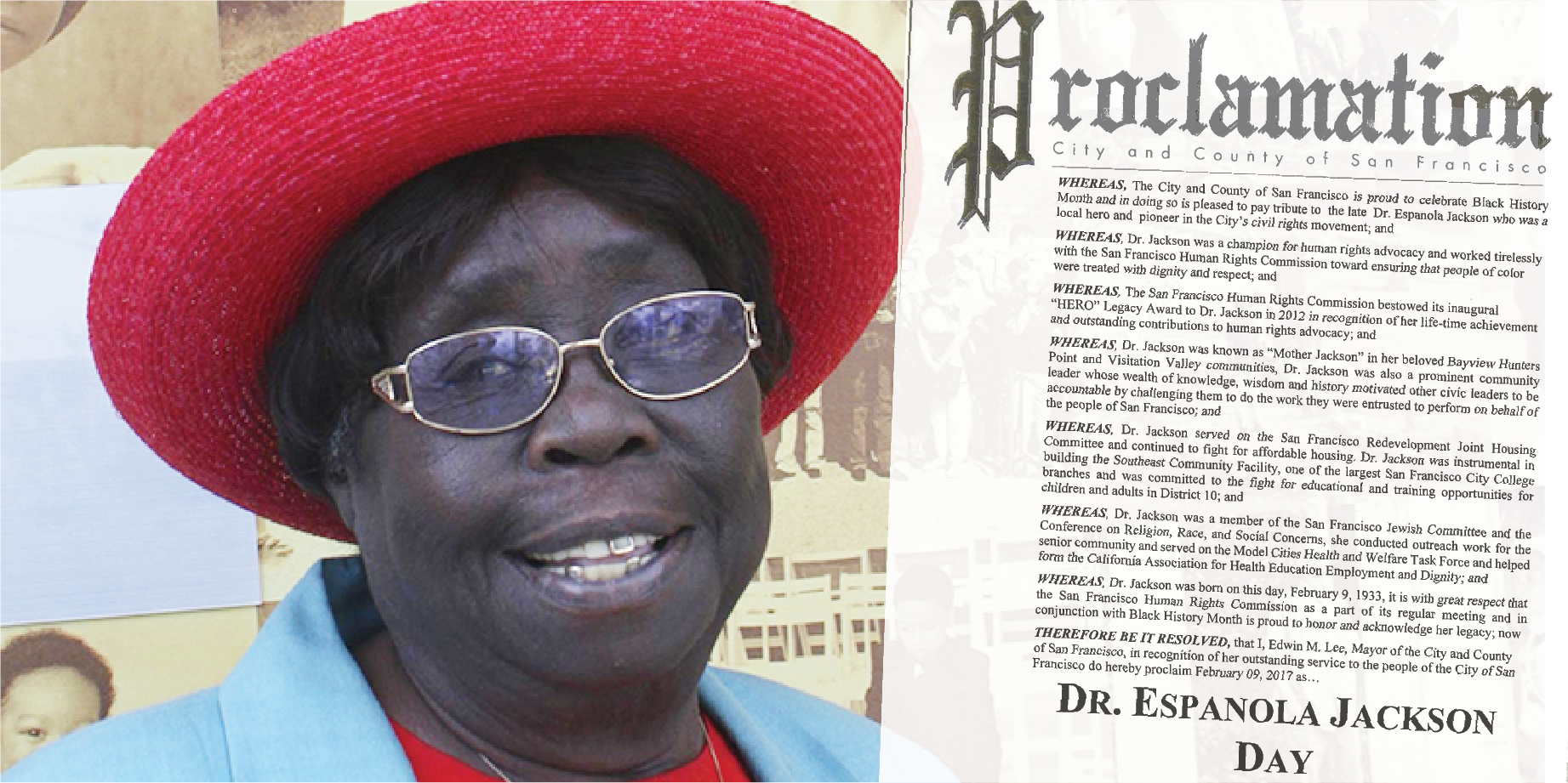 A photo of Espanola Jackson next to the Proclamation establishing a day in her honor