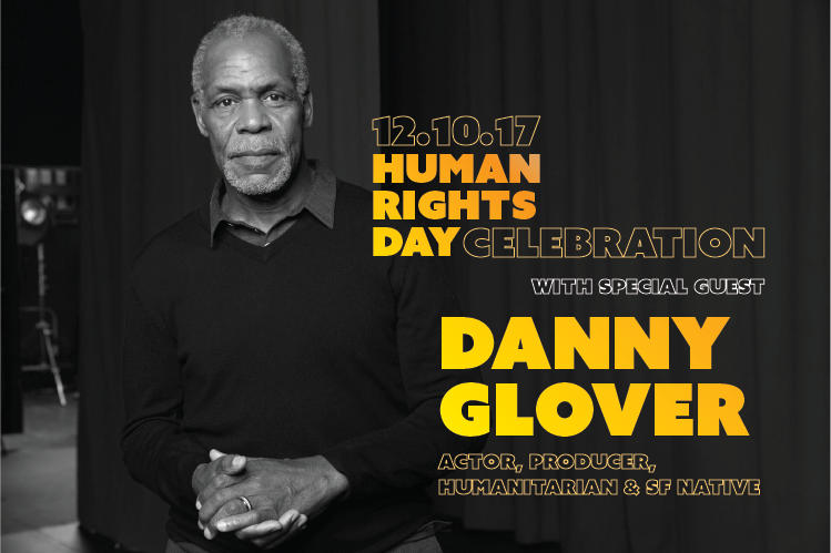 Promotional photo and text for HRC's International Human Rights Day Celebration featuring Danny Glover