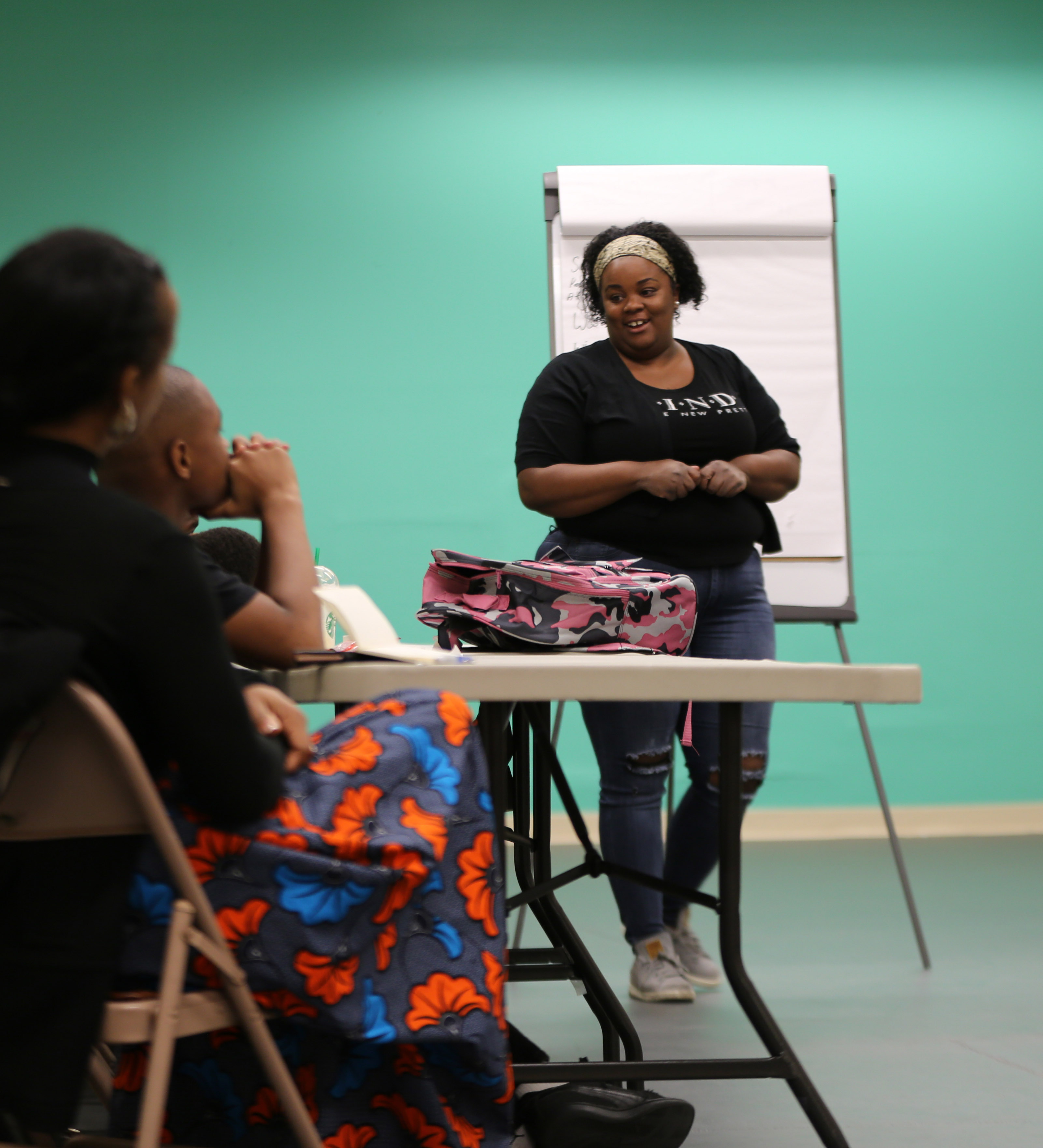 Performer Sangin Sara leads an MBSK Workshop at the African American Arts and Culture Complex for the HRC in February 2018
