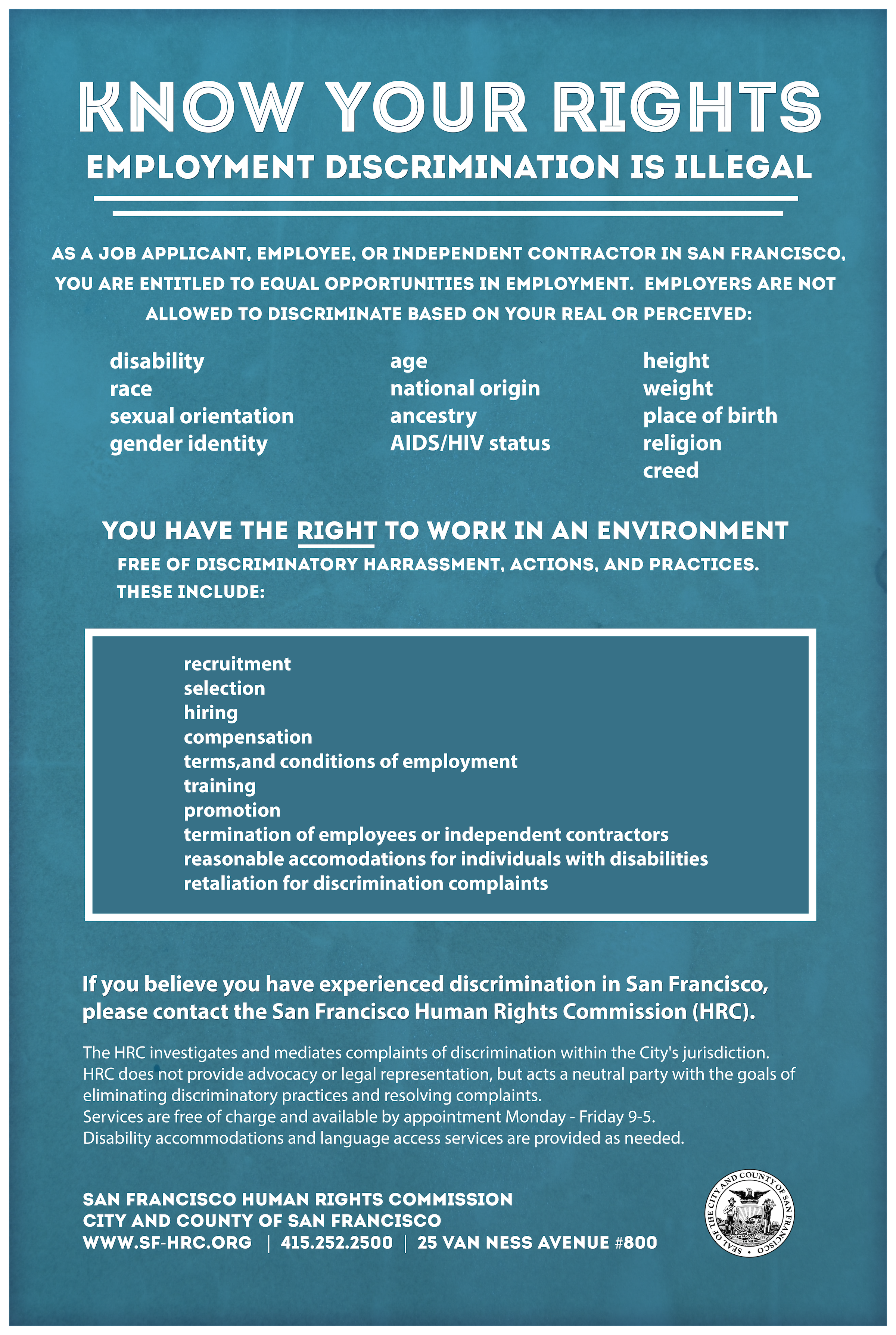 """SF Nondiscrimination """"Know Your Rights"""" Poster - Employment"""