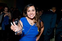 Headshot of Veronica Garcia, HRC Staff, Receiving Award